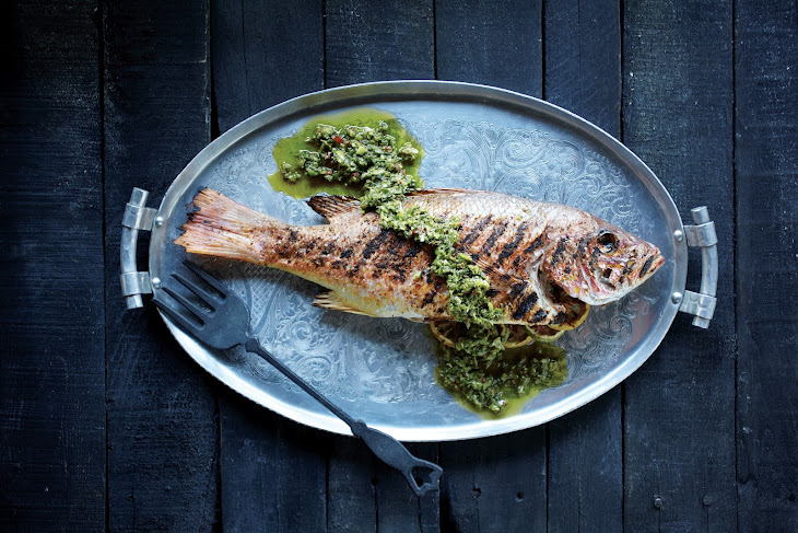Grilled Red Snapper with Green Harissa Sauce