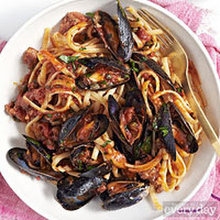 Linguine and Mussels alla Diavola.