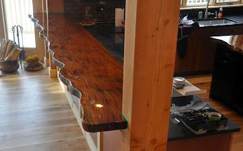 Photo: sapele slab bar top http://dorsetcustomfurniture.blogspot.com/2015/01/some-sapele-slab-stuff.html