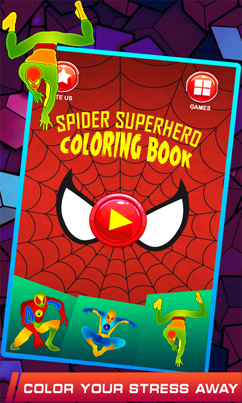 Spider Superhero Coloring Book Pages for kids- screenshot