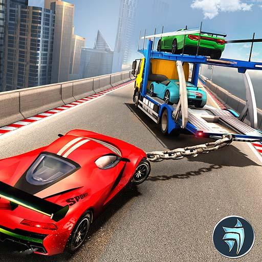 Chained Car Transport Truck Driving Games