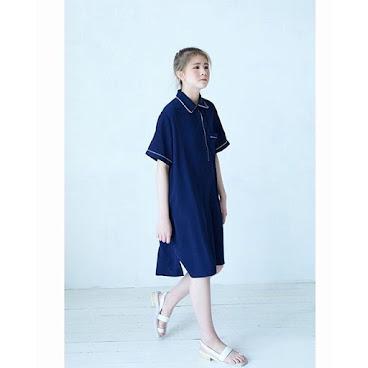 Polo款連身裙 藍
