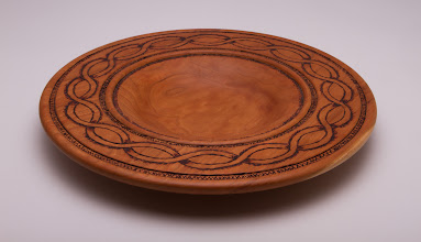 "Photo: Bill Autry 8"" x 2""  bowl with pyrography [cherry]"