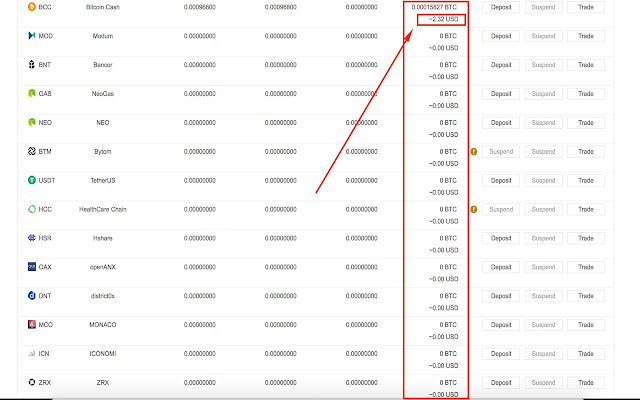 Add the USD value to the output of the BTC Value column on Binance