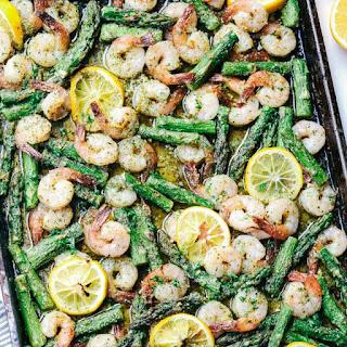 Sheet Pan Lemon Garlic Butter Shrimp with Asparagus.