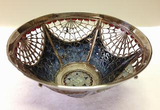 Photo: Plique-à-Jour Enamels by Diane Echnoz Almeyda - Spider Bowl #1 (Vessel - Bowl Form) - Fine Silver, Plique-à-Jour Enamels - Approximate size 42mm (h) x 83mm (diam) - $4800.00 US