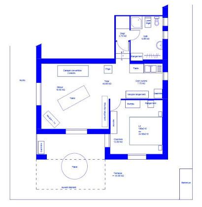 Location studio meublé 47 m2
