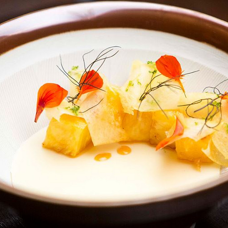 Mango Cream with Spiced Pineapple and Lemongrass and Ginger Consomme