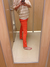 Photo: Gold striped top with the red-orange pants.