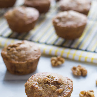 Healthy Banana Muffins with Walnuts.