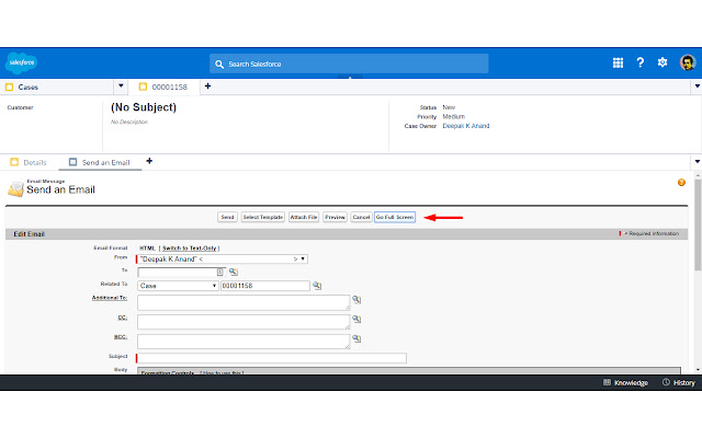 Full Screen Send Email for Salesforce Console