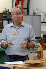 Photo: Mike talks about turning his green oak bowl including the wood movement, rusting of equipment, and blackening in the bowl from steel wool remnants.