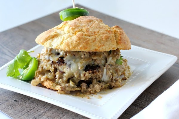 To plate, slice biscuit in half. Add patty, top with gravy and other half...