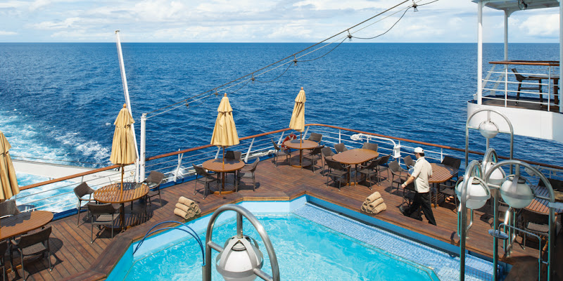 The pool deck aboard the petite expedition ship Silver Discoverer.