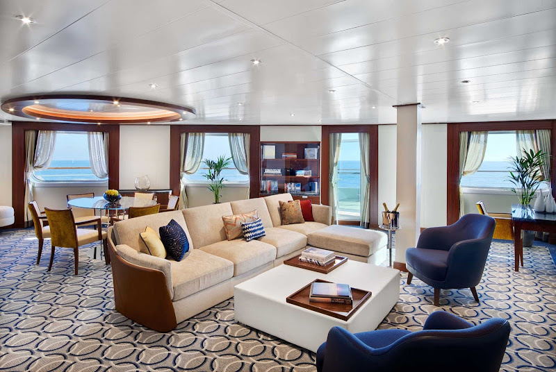 The roomy Signature Suite on Seabourn Encore offers plenty of space to relax.
