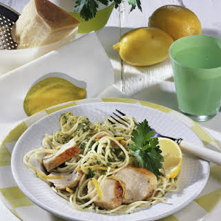Chicken Breast with Spaghetti in Lemon Sauce.