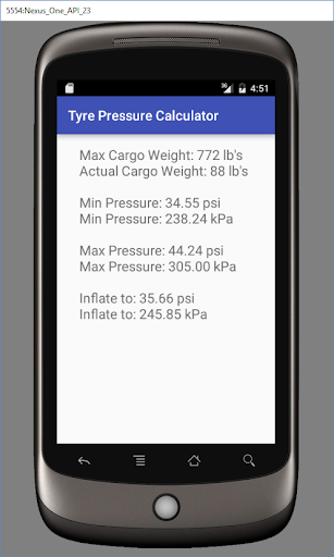 Tyre Pressure Calculator screenshot