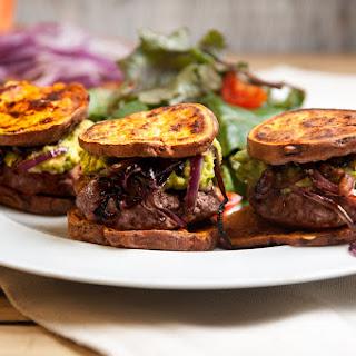 Sweet Potato & Beef Sliders With Baby Kale & Cherry Tomatoes
