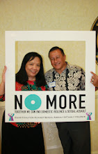 Photo: Cynthia Cabot (Executive Director of Guam Coalition Against Sexual Assault & Family Violence) and Benito Servino (Director of Department of Integrated Services for individuals with Disabilities) standing together to end the violence!