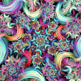 Floral Synth Curl by Peggi Wolfe - Illustration Abstract & Patterns ( abstract, wolfepaw, gift, unique, bright, curl, illustration, spiral, fun, digital, print, décor, pattern, color, synth, unusual, fractal, rainbow, floral )