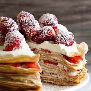 No-Bake Strawberries and Cream Crêpe Cake.