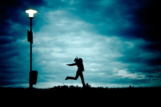 Girl, At Night, Running, Cloud, Silhouette, Freedom