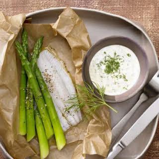 Asparagus on Fish with Dill Hollandaise.