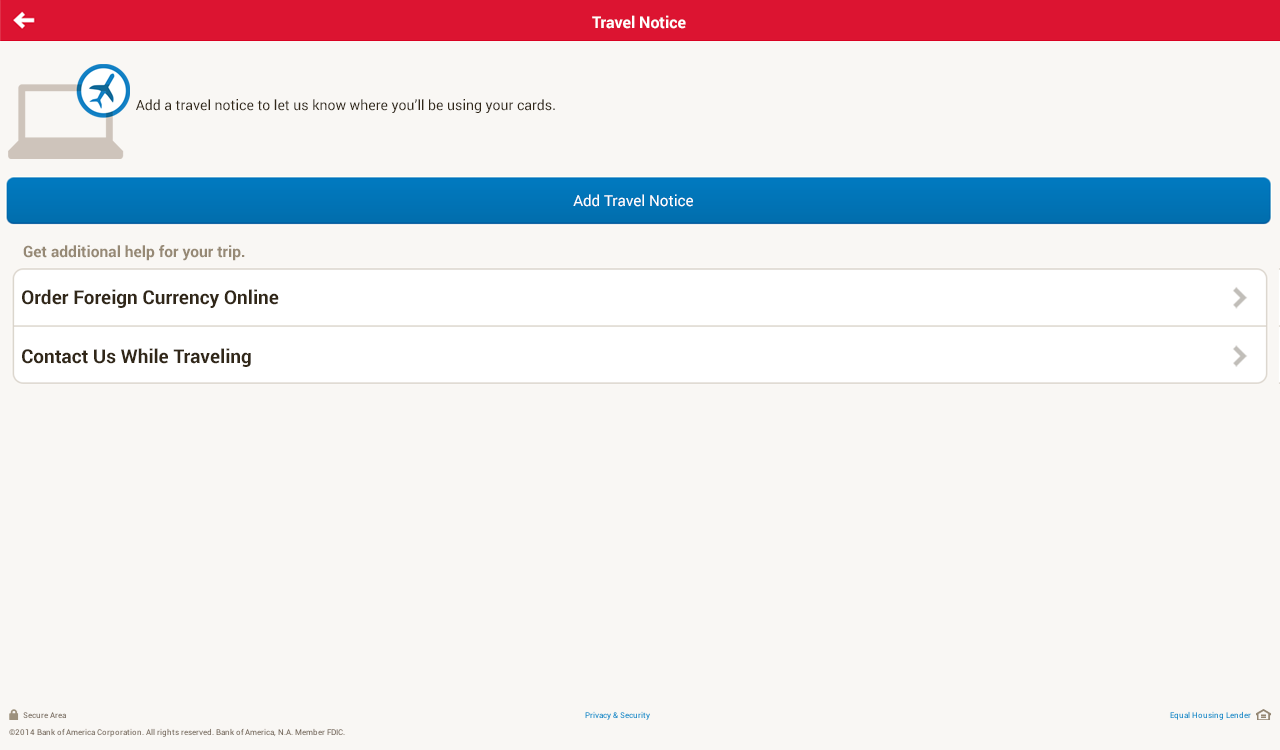 Bank of America - screenshot