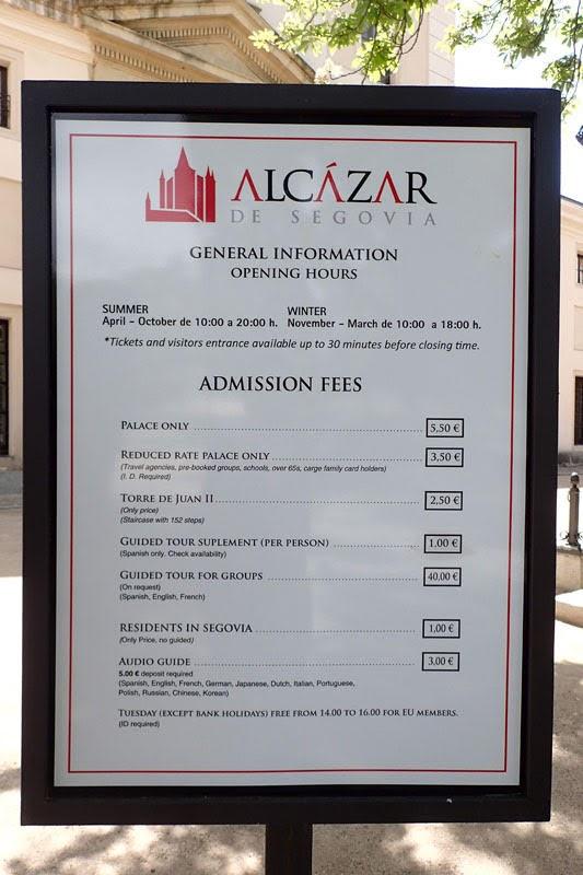 Ticket Price of Alcázar de Segovia (Segovia, Spain)