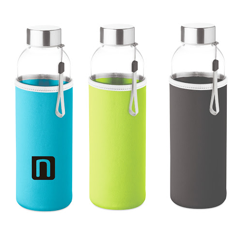 Slim glass bottle 500 ml with coloured neoprene sleeve orange