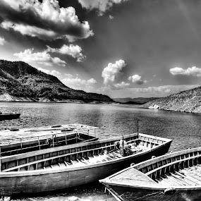 Nangal in B&W by Shikhar Sharma - Transportation Boats ( nanagal, govind sagar lake, punjab, boats, bhakra dam )
