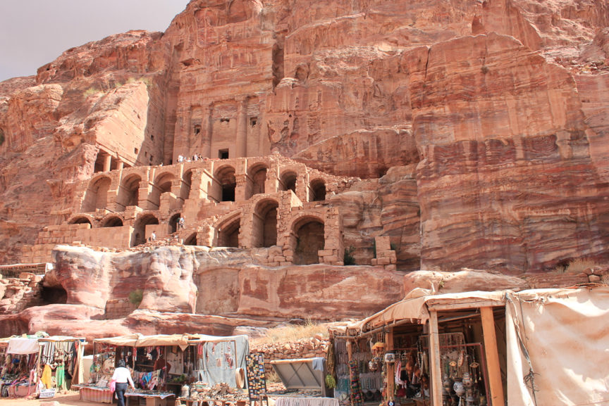 Petra, a site in Jordan's southwestern desert that dates to 300 B.C., features tombs and temples carved into pink sandstone cliffs.