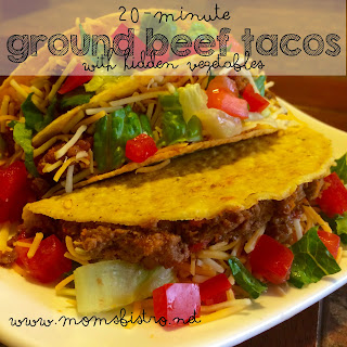 20 Minute Ground Beef Tacos With Hidden Vegetables.