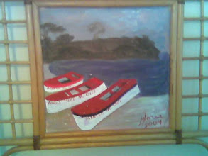 Photo: Fishing Boats, acrylic on headboard, created for my daughter Leigh, painted at Sheridan Co 2004