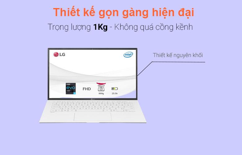 Laptop LG Gram 2021 14ZD90P-G.AX51A5 (i5-1135G7) (Trắng) | Thiết kế gọn gàng