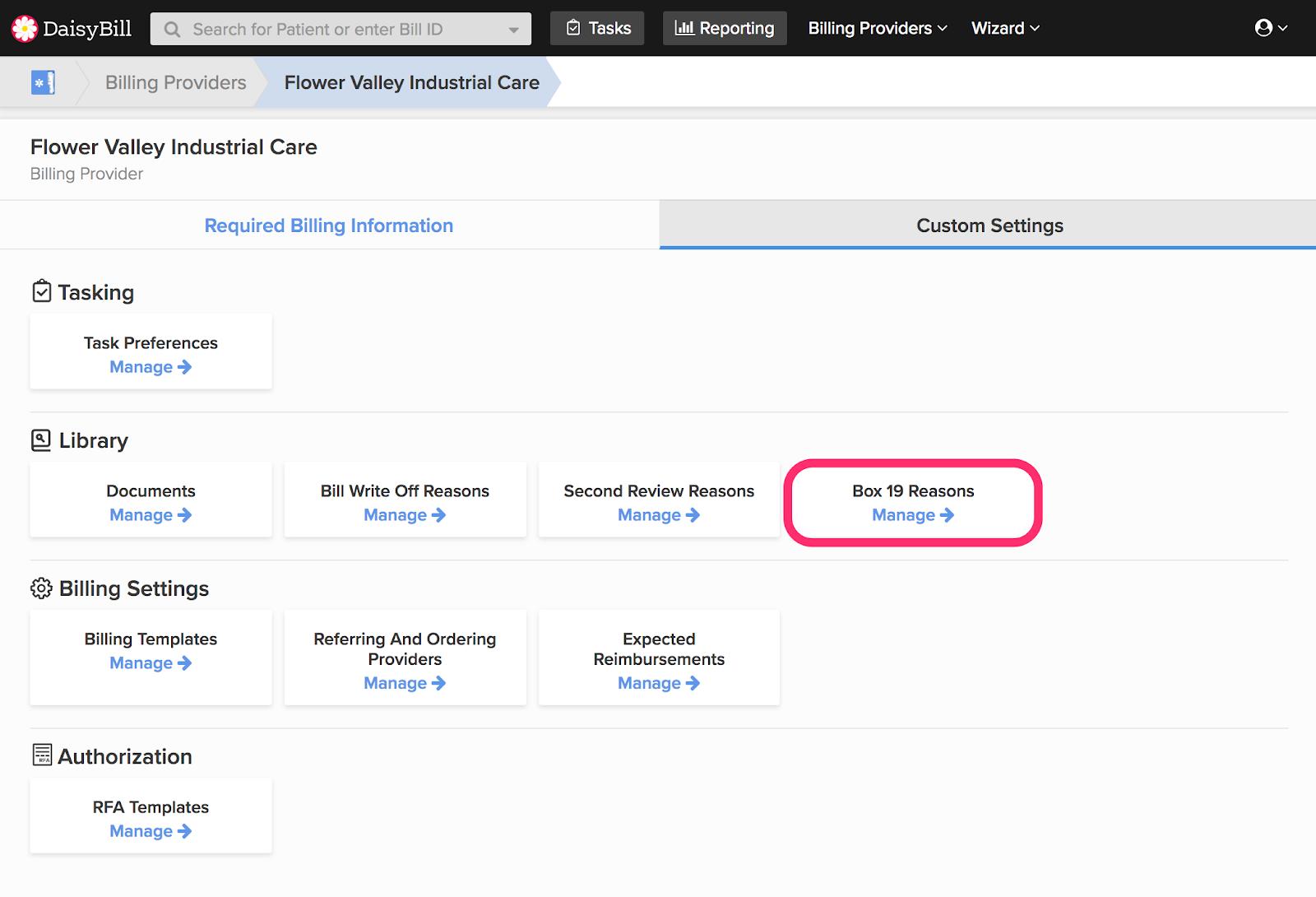 Help Articles Manage Billing Provider Explained Custom Settings