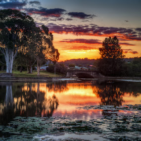 Sippy Lake 3-4 Bridge by Daryl James - Landscapes Sunsets & Sunrises ( water, 2009, qld, park, hdr, subject, lake, waterscapes, landscape, ghdrsunset, family, sunset, lightpainting, sunrise, picnic )