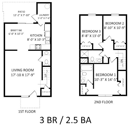 Three Bed 2 5 Bath Floorplan Apartments Of Westgrove