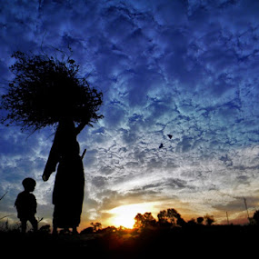 The Working Mother and his son by Avishek Mazumder - People Family