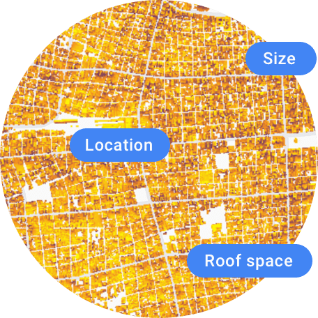 Size, location, and roof space, depicted on a map