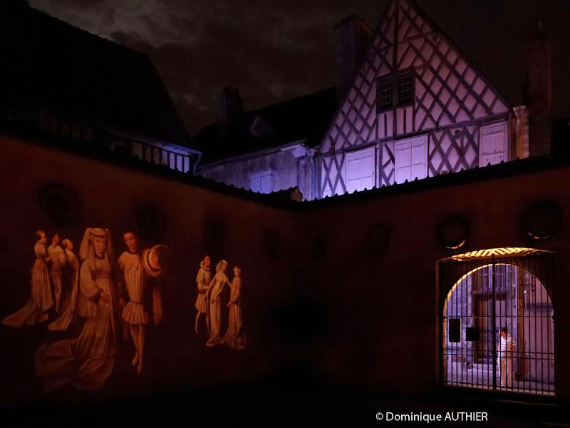 Photo: Illumination dans la cour du musée Estève, cliché pris à main levée avec un Pentax K-5 à 6400 iso