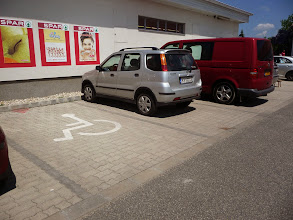 Photo: Parking for cars of wheelchair users, slow walkers. Take your international parking card with you during your stay in Velence, Hungary.