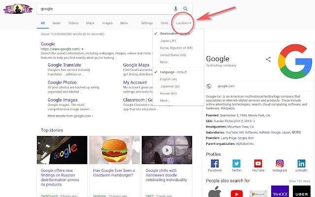 Google Search - Geolocation & Language Change