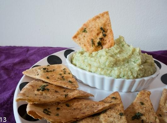 Lemon-basil Artichoke Bean Dip & Basil Pita Chips Recipe