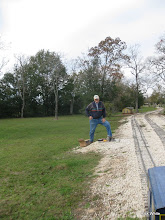 Photo: Dennis Cranston testing circuits for track detection under the power lines.   2009-1127 HALS Anniversary Meet