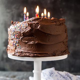 Vanilla Birthday Cake with Whipped Chocolate Buttercream..