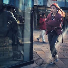 Girl on street by Francisco Little - Instagram & Mobile Android ( light, light beam, beijing, streetphotography, girl )