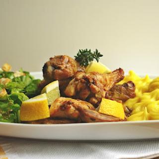 Free-Range Saffron Chicken with Mashed Potatoes.