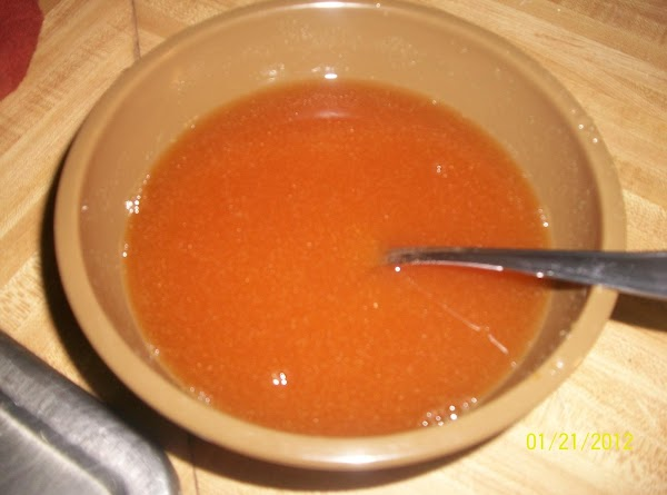 In a small mixing bowl, combine the soy sauce, water, sugar, vinegar, garlic powder...