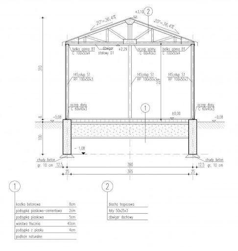 GB29 Garaż Blaszany - Przekrój